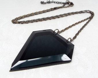Vintage Art Deco Silver Black Diamond Pendant Lucite Long Flapper Necklace Chain