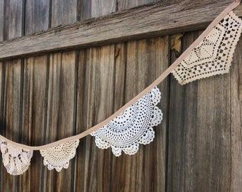Crochet doily bunting - 2.75 metres