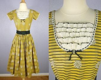 Vintage 50s Dress MOD Dress 1950s Novelty Print Dress TELEPHONE Print Dress Retro Yellow Dress Party Dress Day Dress PINUP Dress Judy Palmer