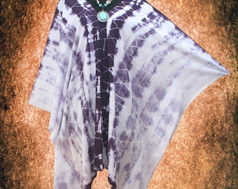 Tropical Shibori Wearable Art V neck Hand dyed Poncho Tunic Top
