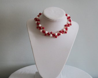 White Coral with Red crystals choker necklace