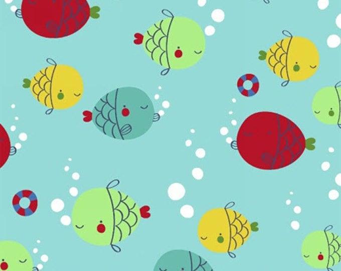 Half Yard Ahoy Matey! - Fish in Aqua Blue - Cotton Quilt Fabric - by Whistler Studios for Windham Fabrics - 40153-4 (W3555)