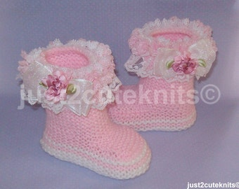 Hand Knitted Designer Baby Girl Booties Lots Of Lace Newborn Special Occasion Baby Shower Original Reborn Doll #60