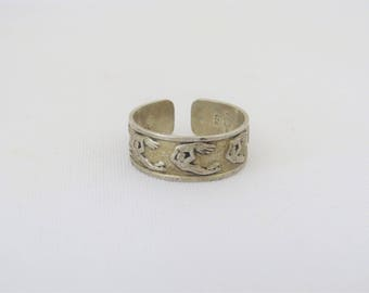 Vintage Sterling Silver Adjustable Band Ring Size 9.25