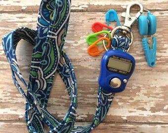 Roadtrip Lanyard with stitch counter, yarn snips and stitch markers - knit & crochet lanyard