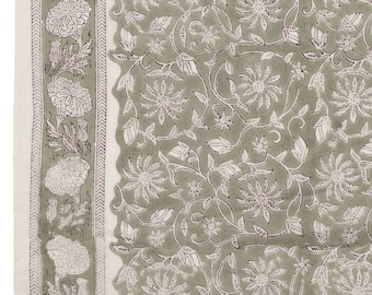 COTTON FABRIC DESIGN 23 - Block printed Thicker Cotton with Burgundy Leaf on Grey