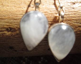 Moonstone and Sterling Dangle Earrings