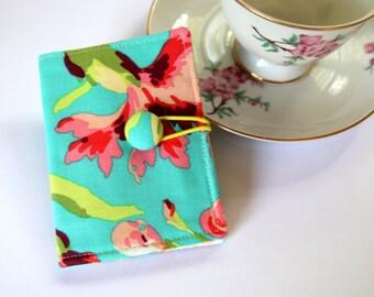 Tea Bag Wallet, Floral Tea Wallet, Card Holder, Tea Caddy, Teacher Gift, Travel Tea Purse - Pink flowers on Turquoise, Amy Butler fabric