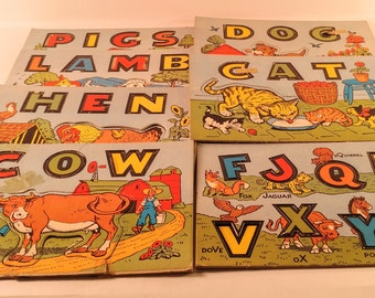 Vintage Cardboard Cutout Farm Animal Alphabet/Spelling Puzzles. Set of Seven. 1930's Collectible Children's Educational Toys.