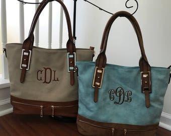 Leather Tote Handbag - Monogram
