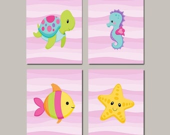 Sea Life Wall Art, Sea Animals, Girl Nursery Art, Under The Sea Nursery
