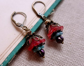 Cranberry flower earrings Czech glass dangle earrings cottage chic earrings