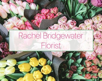 Premade customised double sided business card design, beautiful floral tulip bouquets business branding