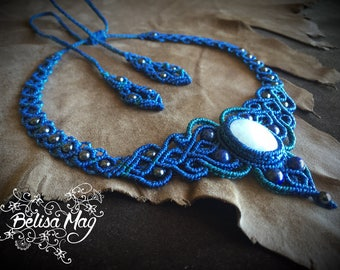 Moonstone macrame choker, fairy necklace, medieval necklace, crystal necklace, tribal gipsy jewelry, moonstone macrame necklace, Belisamag.