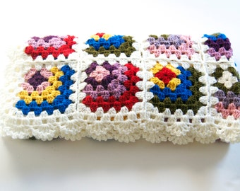 ON SALE %20 OFF Ready to Ship Baby crocheted blanket all wool, cream with mixed colors motifs,35,4''x35,4'' Square