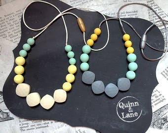 Silicone Teething Necklace CHOOSE COLOR - Bite Beads Nursing Necklace Jewelry - Teether Chewing Beads - Chew Jewelry Beads - Sunup Sundown
