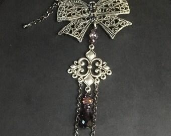 Bow Bracelet, Crystal Slave Bracelet, Gift For Her, Hand Jewelry, Crystal Bracelet, Gothic Jewelry, Gothic Wedding, Gothic Bride, Wife Gift
