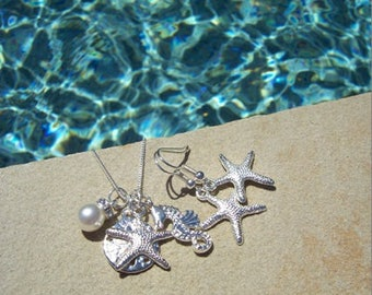 STARFISH EARRINGS & NECKLACE set--- Starfish Necklace, Beach Wedding, Bridesmaid Jewelry, Bridesmaid Gift, Starfish  Sand Dollar Necklace