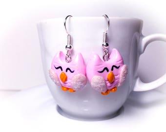 OWL earrings handmade fimo//gift for you//birthday//gift set for girls