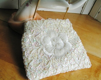 Vintage White Glass Beaded and Sequined Hand Made in Hong Kong Purse Floral Flower Design on Each Side Evening Bag Hand Bag