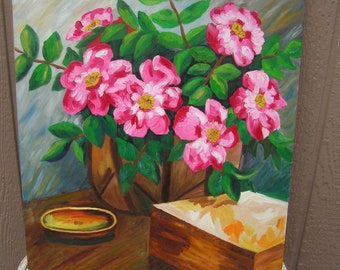 "Vintage Oil on Canvas Pink Flowers Still Life Signed by Artist L Weber Cottage Decor Original Retro Painted Art 24"" x 20"""