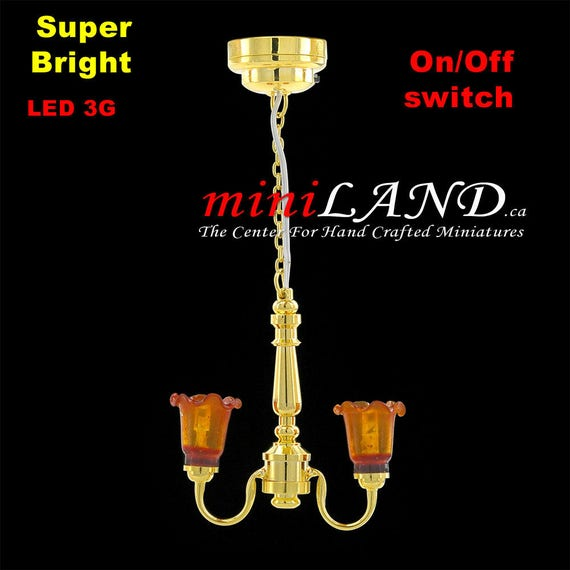 Battery Operated LED LAMP Dollhouse Miniature Light Chandelier
