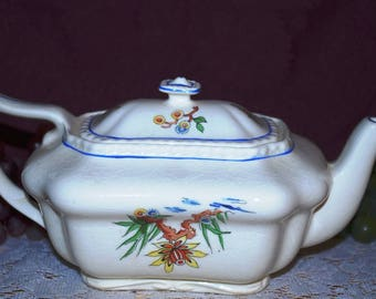 """Steubenville Ivory Ceramic 4"""" High Oblong Footed Flowered Teapot"""