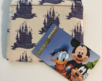 MINI Disneyland-Inspired Castle Quote Handmade Fabric Small Zipper Pouch/Coin Purse