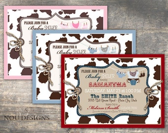 Cowboy or Cowgirl Western Themed Baby Shower Invitation Card- Printable File
