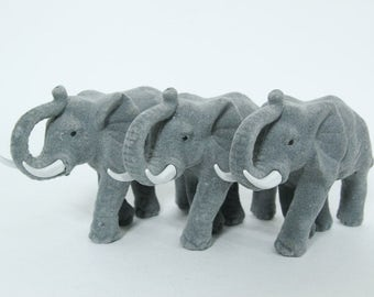 Vintage Lot of Three Flocked Elephant Figurines, Plastic Craft Supply Decor 1980s