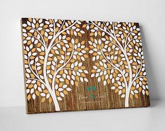 Unique Wedding Guest Book - The Twin Oak - A Victoria Rossi Design - 50-300 guest sign in - Confetti Tree Guestbook