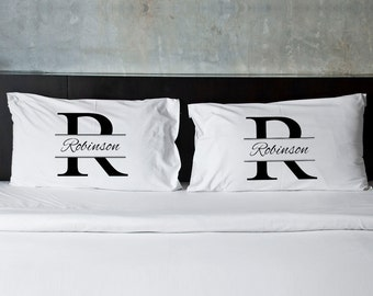 Personalized Stamped Design Pillow Case Set - Couples Personalized Pillow Cases - Couples Gifts - Wedding Gifts - GC891
