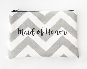 Maid of Honor Bag - Bridesmaid Bag -  Makeup Bag - Personalized Makeup Bag - Cosmetic Bag - Toiletry Bag - Wallet - Medium