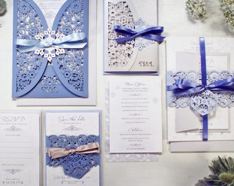 Winter Wedding invitation, Laser cut wedding stationery suite, December wedding invite, Christmas wedding invite, Snowflake wedding invite