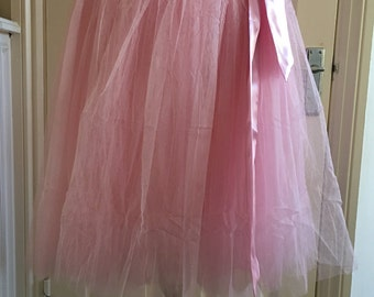 Baby pink tutu tulle skirt with pink satin sash womens one size