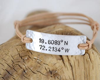 Custom Coordinate Bracelet - Latitude Longitude Bracelet - Rustic Leather Jewelry - Adjustable Bracelet - Unisex Jewelry - Pink Lemon Design