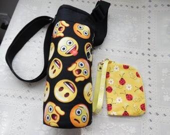 CROSS BODY Insulated Water Bottle Carrier, Emoji , Water Bottle Tote, Insulated Bottle Holder