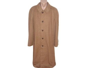 Vintage Schneiders Salzburg Pohland Exklusiv men long coat wool cashmere brown