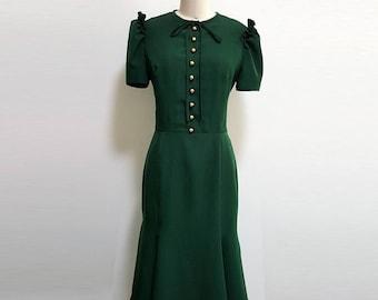 Kate Middleton/Green Dress/ Emerald Green/Custom made dress/Vintage dress/ Royal Canada Tour/ Duchess of Cambridge/ Premium fabric