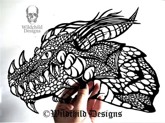 chinese paper cutting templates dragon - dragon head gothic silhouette paper cutting template for