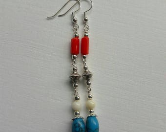 Turquoise and coral earrings. Turquoise earrings. Coral earrings.  Holiday wear. Long dangle earrings. Dangle earrings. Silver earrings