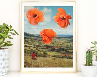 Poppy print - Red poppy wall art - Surreal collage art - Landscape poster
