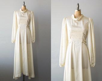 Forever Mine wedding dress | 1940s cream satin beaded wedding gown | 40s bridal dress