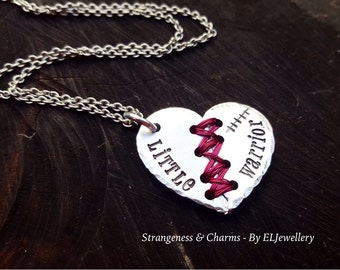 Hand Stamped 'Little Warrior' Stitched Heart Necklace, Mended Heart, Heart Surgery, CHD Survivor, Broken Heart, Stamped Metal Jewelllery.