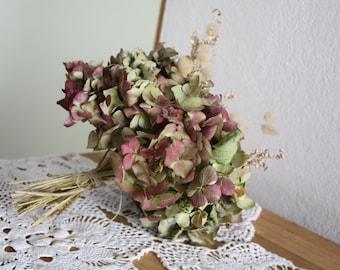 Dried Hydrangea flower and dried grass  bouquet,dried wedding bouquet, hortensia seche