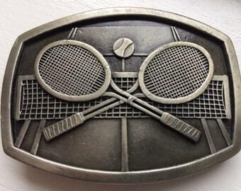 Vintage Indiana Metal Tenns Rackets Belt Buckle