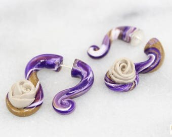 Purple/Gold/White Fake Gauges, Tan Rose Inset