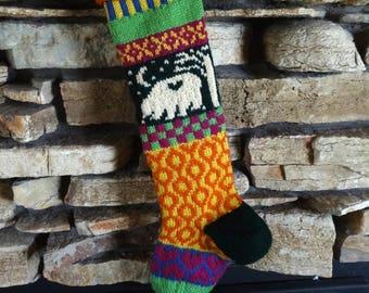 Personalized Christmas Stockings, Knit Christmas Stockings, Knitted Christmas Stocking, Christmas Stocking, Dark Green Bear, Magenta Hearts