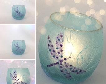Dragonfly Tea Light Candle Holder. Strawsilk Glass.