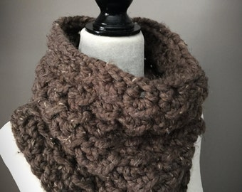 Adult Crochet Cowl/Adult Neck Warmer/Chunky Scarf/Barley